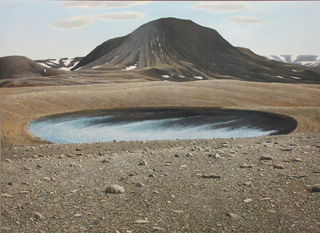 Landscape painting of a mountain and a pond by Vaino Kola