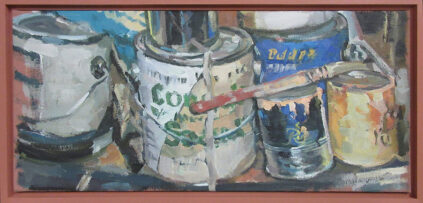 Painting of paints cans by Val Lewton