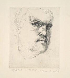 Self Portrait etching by Thomas Cornell